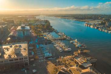 Jack London Square Aerial View In Oakland, CA
