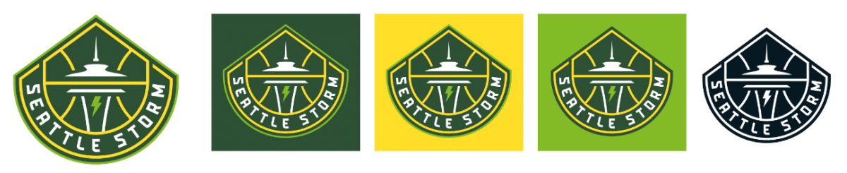 Different versions of the new Seattle Storm logo