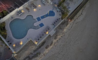 Aerial view of the Guitar-shaped pool at the Hard Rock Hotel in Daytona Beach