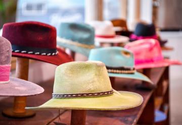 Hats on display at Flea Style