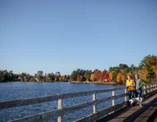 joggers on bridge