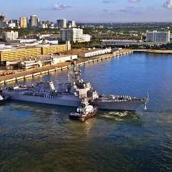 The U.S.S. Paul Ignatius arriving at Port Everglades.
