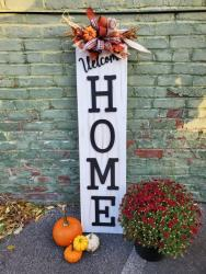 Wooden Home sign with pumpkins Blessings on Spring