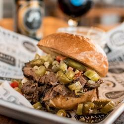 A brisket sandwich at Longtable Beer Cafe
