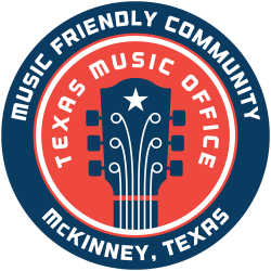 Texas Friendly Music Community badge created for McKinney by the state music office