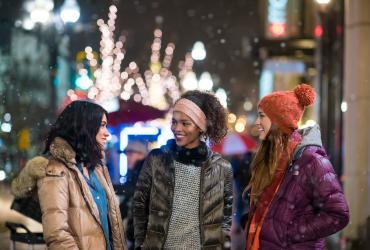 Women in Downtown Salt Lake During the Holidays