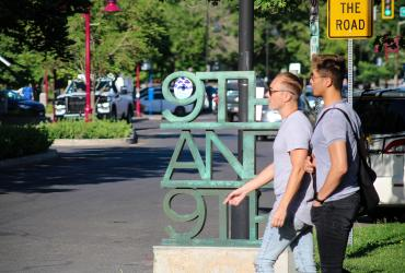Two friends walking in Salt Lake's 9th and 9th neighborhood