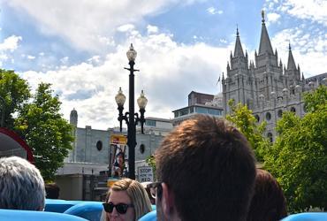 US Bus tour in downtown Salt Lake