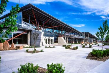 Exterior view of the Mountain America Expo Center