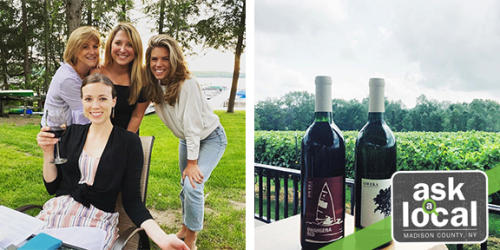 Caitlin and friends at the Brewster Inn and two bottles of wine at Owera Vineyards