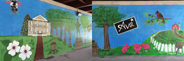 Neuse River Walk Bridge Mural in Smithfield with various local and state landmarks depicted