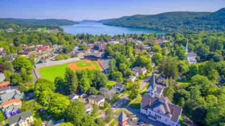 Aerial view of Cooperstown in central New York