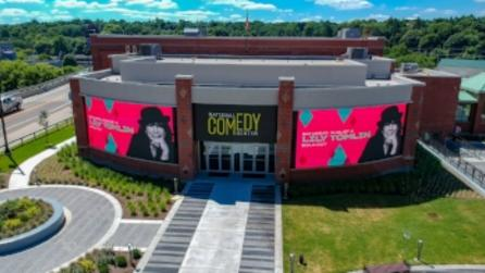 Aerial view of the National Comedy Center in Jamestown