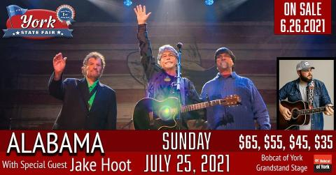 Promotional image for Alabama performing at the York State Fair