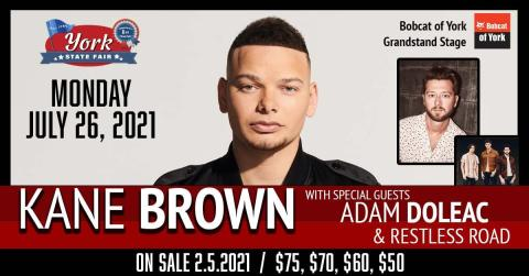 Promotional image for Kane Brown performing at the York State Fair