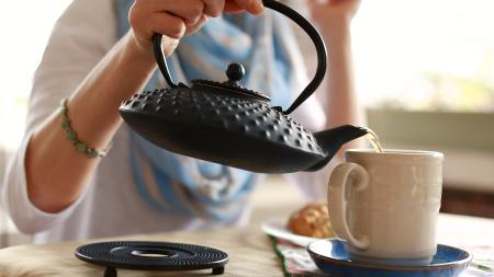 Hot tea at Bread Basket Cafe & Bakery