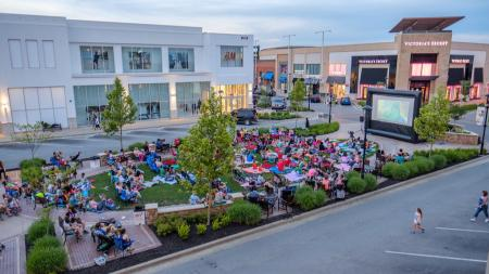 Outdoor movie at The Shops at Perry Crossing (Photo courtesy of The Shops at Perry Crossing Facebook Page)