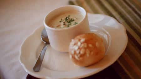 White Chicken Chili soup at Bread Basket Cafe & Bakery