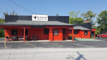 red building with chairs out front, farmstand market and cafe union ky