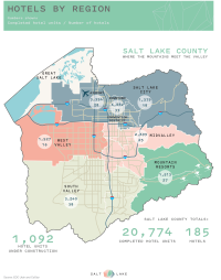 Map of the Salt Lake Valley showing hotel rooms and hotels per area