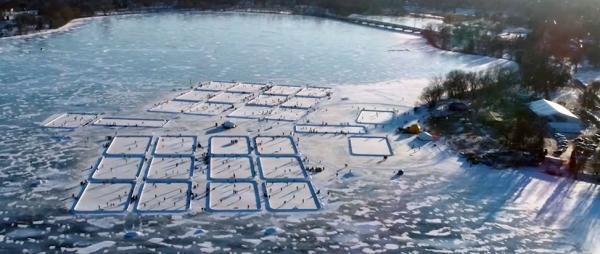 Aerial view of pond hockey rinks