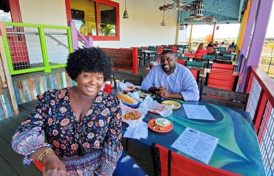 Couple dining at Middendorfs, Slidell, Tammany Taste