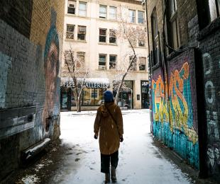 Walking in the snowy Exchange District in Winnipeg, Manitoba