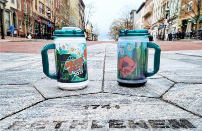 Two 2021 Musikfest Mugs on Main Street, Bethlehem, PA