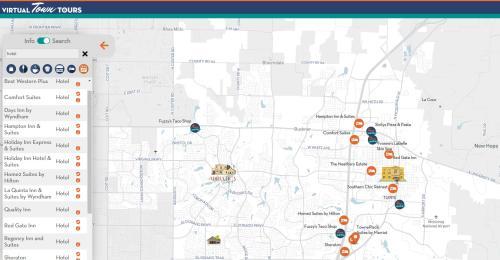 Screen shot of virtual town tours map showing hotels