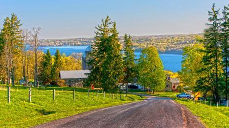 Roadside view of Owasco Lake