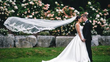 Bride and groom in Cayuga County