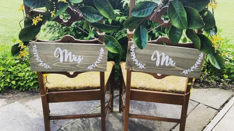 Mr. & Mrs. Chairs at Izzo's White Barn Winery in Cayuga County