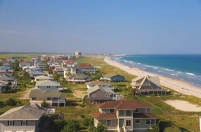 aerial view of beach homes