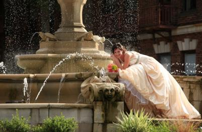 Bride on Fountain