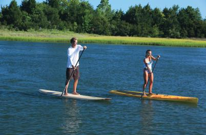 Boy and Girl Paddleboarding