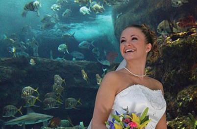 Bride at the NC Aquarium at Fort Fisher