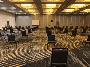 Oakland Marriott City Center Meeting Space with spaced seating