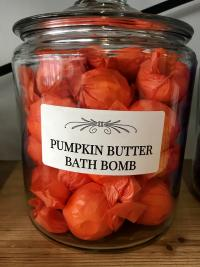 Canister of individually wrapped Pumpkin Butter Bath Bombs from Wimsatt