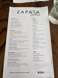 zapata menu
