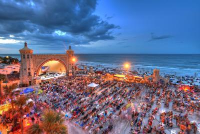 The crowd-filled oceanfront Daytona Beach Bandshell