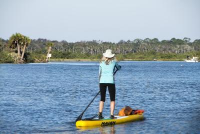 Paddle boarding along the inland waterways of Daytona Beach.