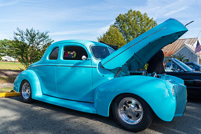A classic blue car at the Clayton Harvest Festival car show in Johnston County, NC.