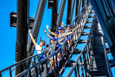 Delegates on an incentive in Perth climbing Matagarup Bridge