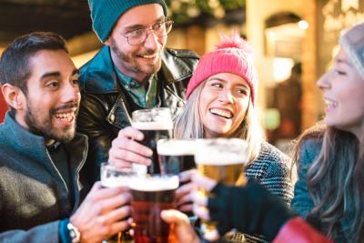 Group of people enjoying beer