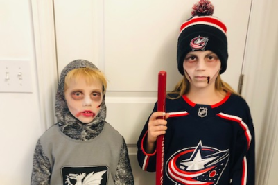 Kids dressed up as zombies