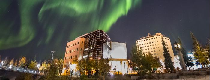 Aurora over downtown Fairbanks