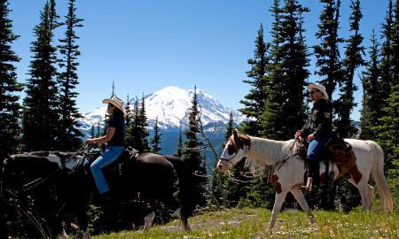 Horseback Riding near Mount Rainier