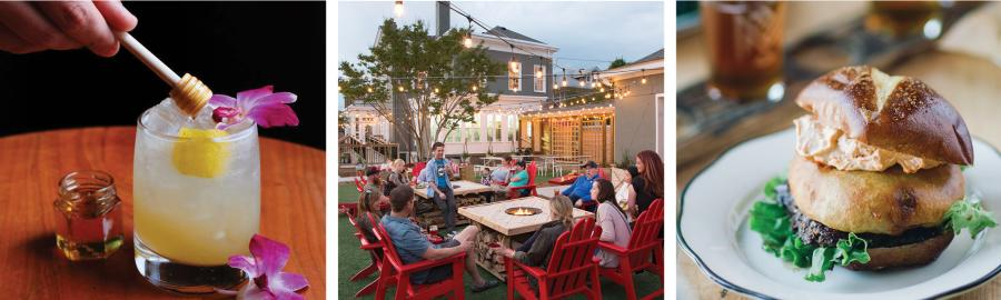 Collage of drinks, patio dining and local food in southern Indiana