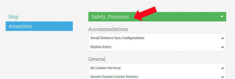 Managing Amenities 3 - Closeup of Safety Protocol Amenities as they show on the website