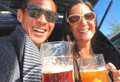 Couple with big steins at Franconia
